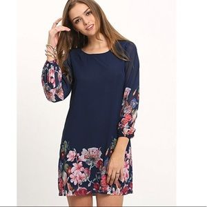 Dresses & Skirts - New floral chiffon navy blue dress